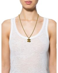 Chanel - Metallic Cc Pendant Necklace Gold - Lyst