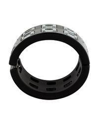 Chanel - Metallic Resin Square Crystal Hinged Bangle Silver - Lyst