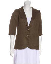 Smythe - Green Linen-blend Button-up Blazer - Lyst