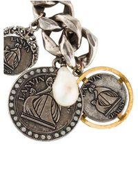 Lanvin - Metallic Faux Pearl, Crystal & Coin Link Bracelet Silver - Lyst