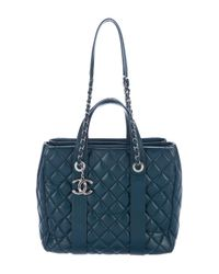 Chanel - Metallic 2015 Quilted Lambskin Shopping Tote Silver - Lyst