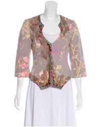 Christian Lacroix - Purple Floral Print Embellished Jacket - Lyst