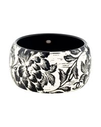 Chanel - Metallic Carved Flower Resin Bangle Silver - Lyst