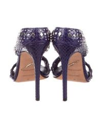 B Brian Atwood - Metallic Snakeskin Embellished Sandals Purple - Lyst