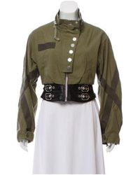 Alexander Wang - Natural Cropped Leather-trimmed Jacket W/ Tags Olive - Lyst