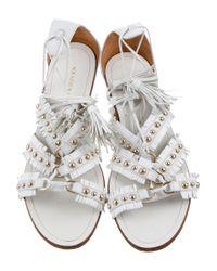 Aquazzura - White Studded Fringe Sandals - Lyst