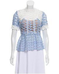 Self-Portrait - Blue Guipure Lace Short Sleeve Top W/ Tags - Lyst