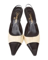 Chanel - Black Python Slingback Pumps - Lyst