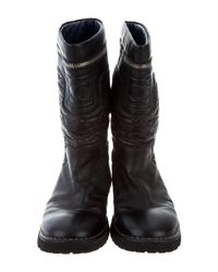 Chanel - Metallic Quilted Moto Boots Black - Lyst