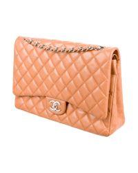 Chanel - Metallic Classic Maxi Double Flap Bag Apricot - Lyst