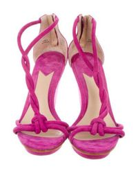 Brian Atwood - Purple B Knot-accented Suede Wedges - Lyst