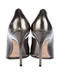 Dior - Gray Metallic Pointed-toe Pumps Pewter - Lyst