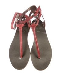 Brunello Cucinelli - Red Leather Thong Sandals - Lyst