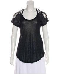 Isabel Marant - Black Lace-trimmed Knit Top - Lyst