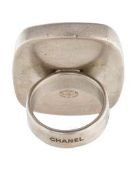 Chanel - Metallic Agate Ring Silver - Lyst