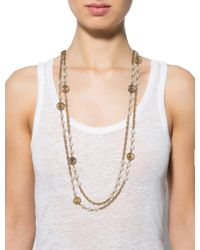 Chanel - Metallic Pearl & Cc Bead Necklace Gold - Lyst
