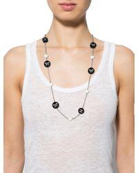 Chanel - Metallic Faux Pearl,resin & Crystal Necklace Silver - Lyst