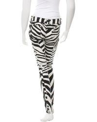 Balmain - White Zebra Print Biker Jeans W/ Tags - Lyst