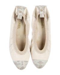 Chanel - Metallic Lizard Cap-toe Flats Tan - Lyst