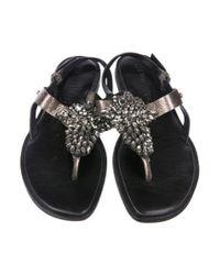 Vera Wang - Metallic Embellished Leather Sandals - Lyst