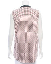 Band of Outsiders - White Sleeveless Plaid Top - Lyst