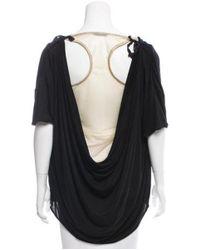 Ports 1961 - Metallic Cowl Neck Short Sleeve Top Black - Lyst