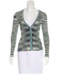 M Missoni - Blue Wool Patterned Cardigan - Lyst