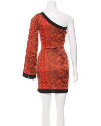 Balmain - Metallic Jacquard One-shoulder Dress W/ Tags Orange - Lyst