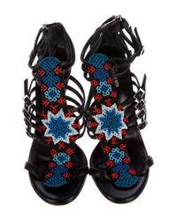 Giuseppe Zanotti - Metallic Embellished Caged Sandals Black - Lyst