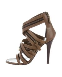 Giuseppe Zanotti - Green Leather Zip-accented Sandals Olive - Lyst