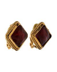 Chanel | Metallic Gripoix Clip-on Earrings | Lyst