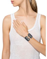 Chanel - Metallic Resin Hinged Bangle Black - Lyst