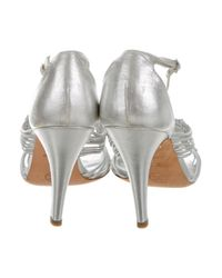 Chanel - Metallic Knot Sandals Silver - Lyst
