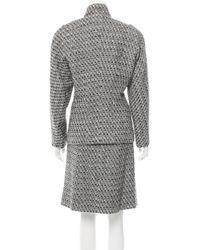 Chanel - Metallic Patterned Knee-length Skirt Suit Black - Lyst