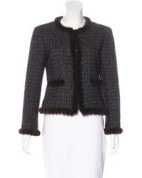 Chanel - Black Mink-trimmed Tweed Jacket - Lyst