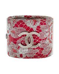 Chanel - Metallic Lace Cc Cuff Silver - Lyst