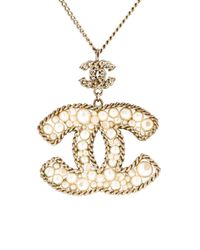 Chanel - Metallic Pearl Cc Pendant Necklace Gold - Lyst