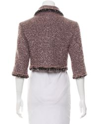 Chanel | Metallic Mohair-blend Cropped Jacket Silver | Lyst