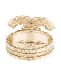 Chanel - Metallic Cc Resin Ring - Lyst