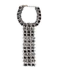 Chanel - Metallic Woven Tweed & Curb Chain Necklace Silver - Lyst
