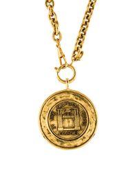 Chanel | Metallic Medallion Pendant Necklace Gold | Lyst