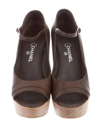 Chanel - Metallic Cc Mary Jane Pumps Brown - Lyst