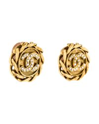 Chanel - Metallic Crystal Cc Clip On Earrings Gold - Lyst