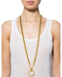Chanel - Metallic Magnifying Glass Pendant Necklace Gold - Lyst