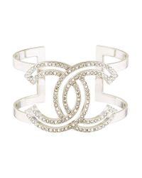 Chanel - Metallic Crystal Cc Cuff Silver - Lyst