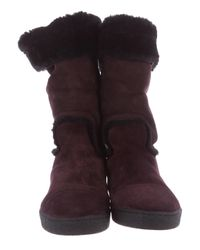 Chanel - Purple Shearling Cc Boots Plum - Lyst