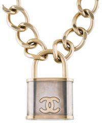 Chanel - Metallic Cc Padlock Necklace Gold - Lyst