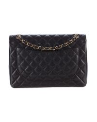 Chanel - Metallic Classic Maxi Double Flap Bag Black - Lyst