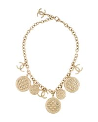 Chanel | Metallic Cc Quilted Necklace Gold | Lyst