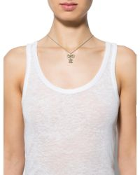 Chanel - Metallic Crystal Bow Pendant Necklace Gold - Lyst